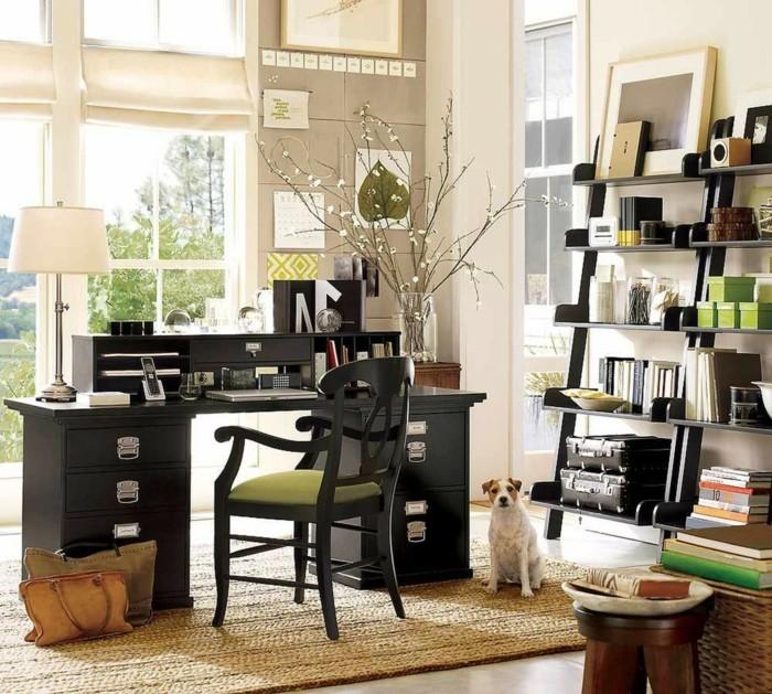 moderne inneneinrichtung home office koffer stauraum ideen sisalteppich