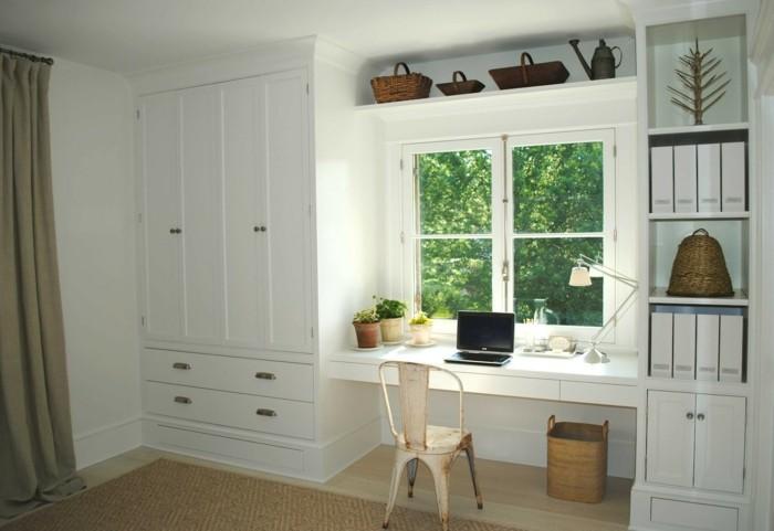 moderne inneneinrichtung weiße möbel home office stauraum