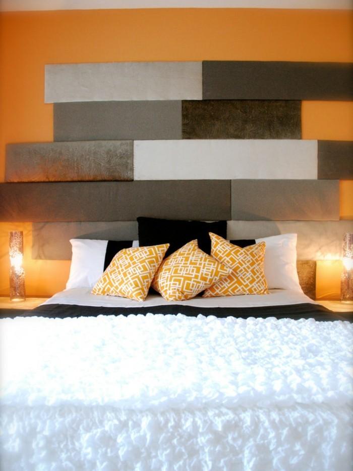 schlafzimmer gestaltung kopfbrett stoff mosaik