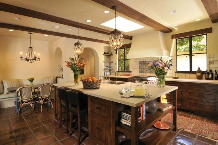 wohnideen küche holzbalken große kücheninsel teppichläufer