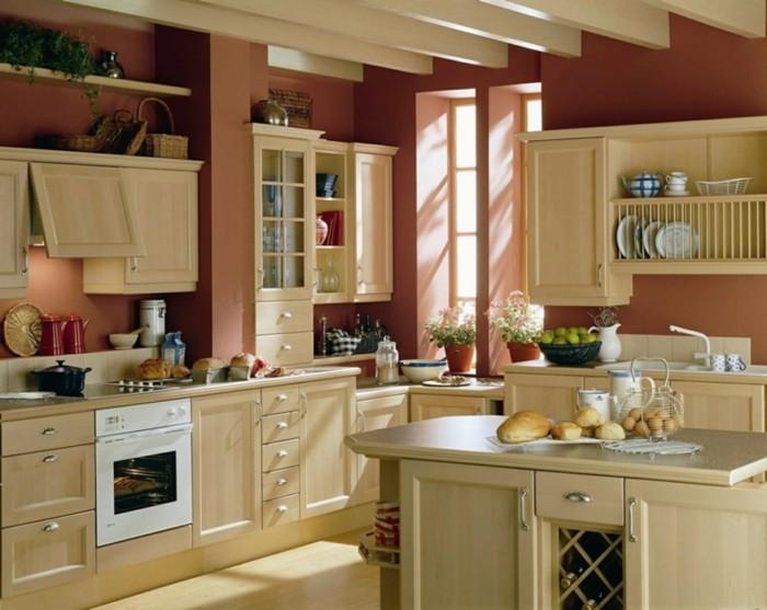 wohnideen küche stauraum farbige küchenwände