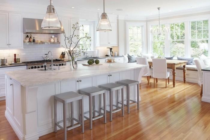 wohnideen küche weiße einrichtung offener wohnplan essbereich