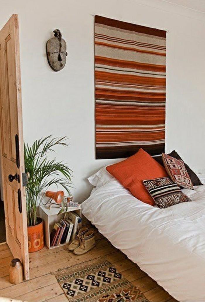 wohnideen schlafzimmer kopfbrett teppichläufer farbig