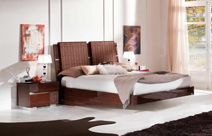 wohnideen schlafzimmer kreatives kopfbrett teppiche wanddeko