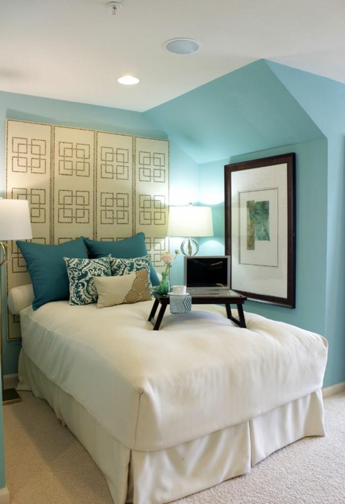 wohnideen schlafzimmer kreatives kopfteil grüne wandfarbe