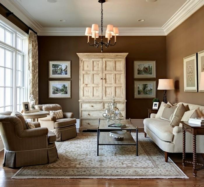 wohnideen wohnzimmer braune wände rustikaler schrank teppich