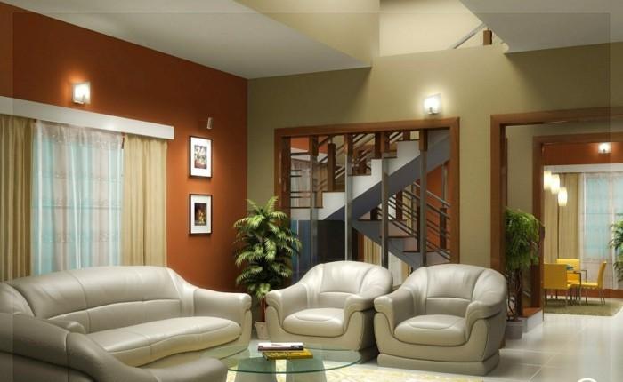 wohnideen wohnzimmer feng shui akzentwand innentreppen beleuchtung
