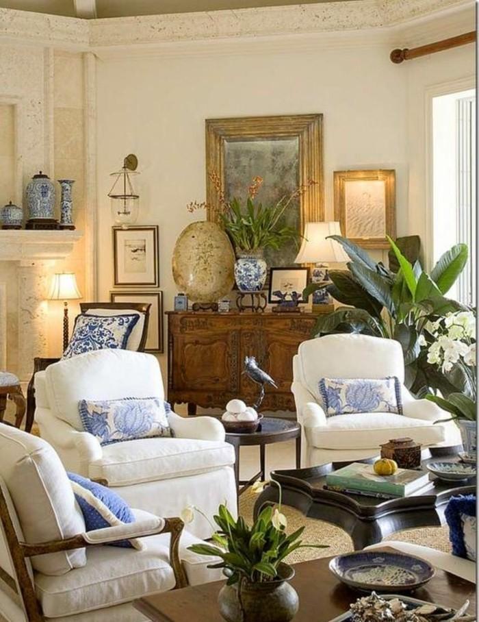 wohnideen wohnzimmer pflanzen weiße möbel gemütlich beleuchtung