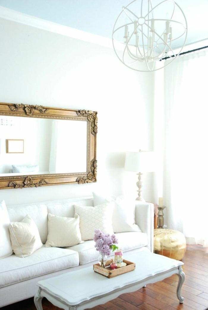 wohnideen wohnzimmer wandspiegel weißes innendesign