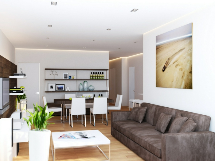 wohnideen wohnzimmer weiße wände pflanzen schickes sofa