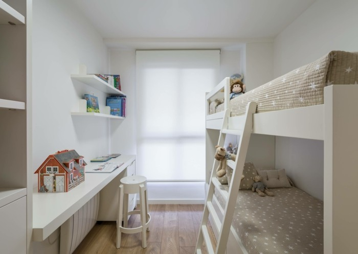 wohnungsdekoration wohnideen kinderzimmer hochbett bilderleiste design