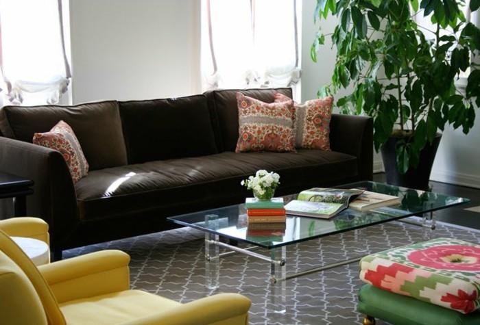Verschiedene Stoffmuster Pflanzen Feng Shui Wohnzimmer
