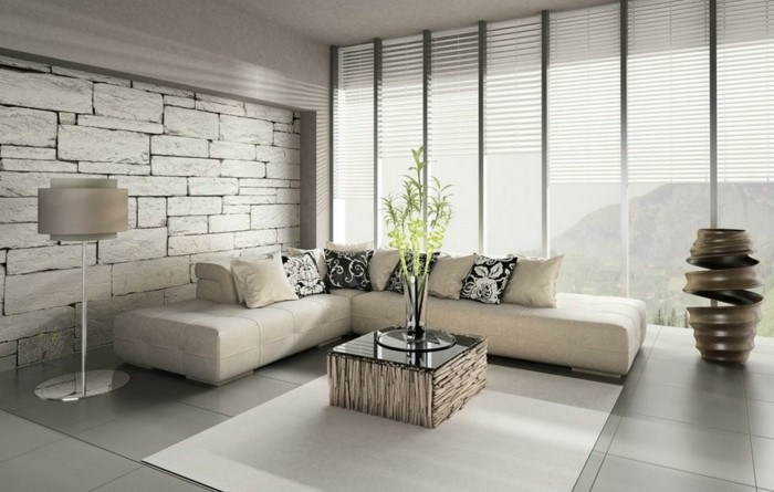wohnzimmer gestaltung feng schui bodenfliesen weißer teppich