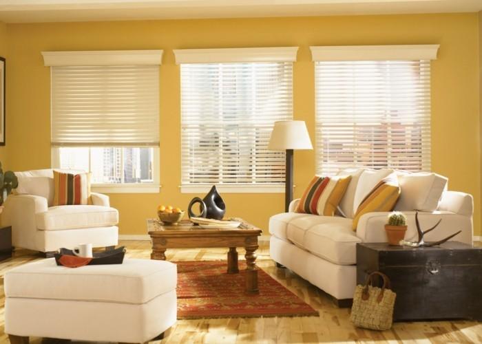 wohnzimmer gestaltung feng shui gelbe wände weiße möbel