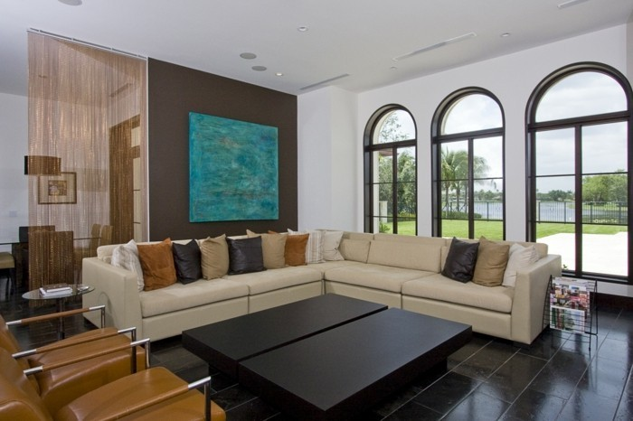 wohnzimmer gestaltung großes ecksofa bodenfliesen