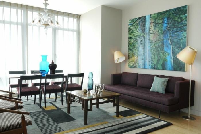 wohnzimmer gestaltung schönes wanddesign geometrischer teppich lampen