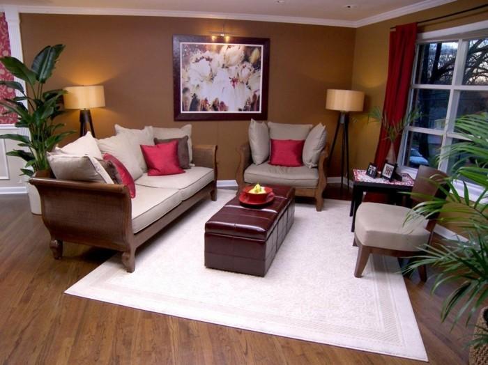 wohnzimmer gestaltung weißer teppich pflanze braune wandfarbe