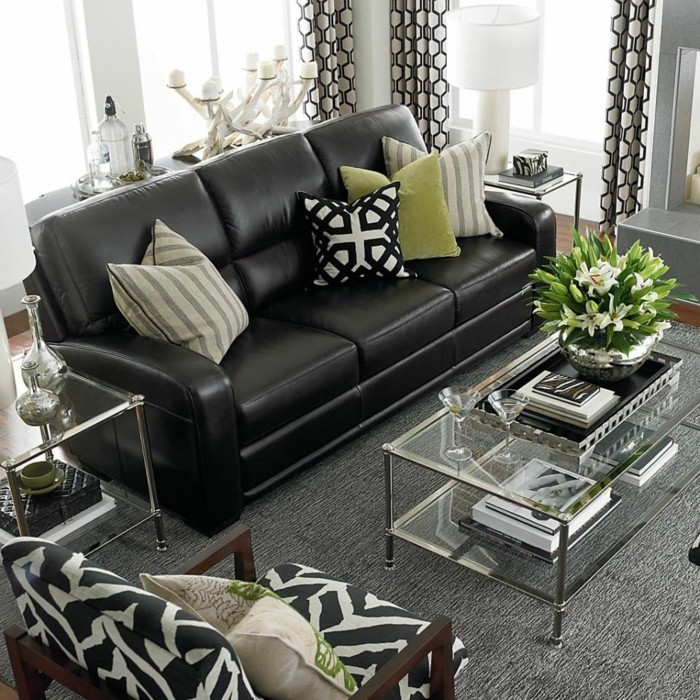 wie sie das ledersofa richtig in szene setzen. Black Bedroom Furniture Sets. Home Design Ideas