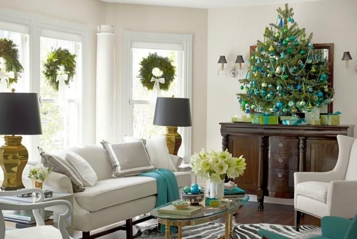 wohnzimmer gestalten dekoideen weihnachten frisch zebra teppich