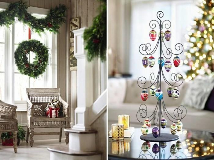 Wohnzimmer Gestalten Weihnachten Dekoideen Kranz Girlande Dekoartikel
