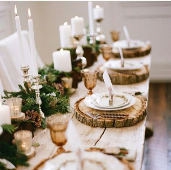 Esszimmer Gestalten Weihnachtliche Dekoideen Rustikal Holztisch