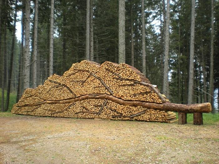 Holzskulpturen Selber Machen Wand Holzbloecke Baum