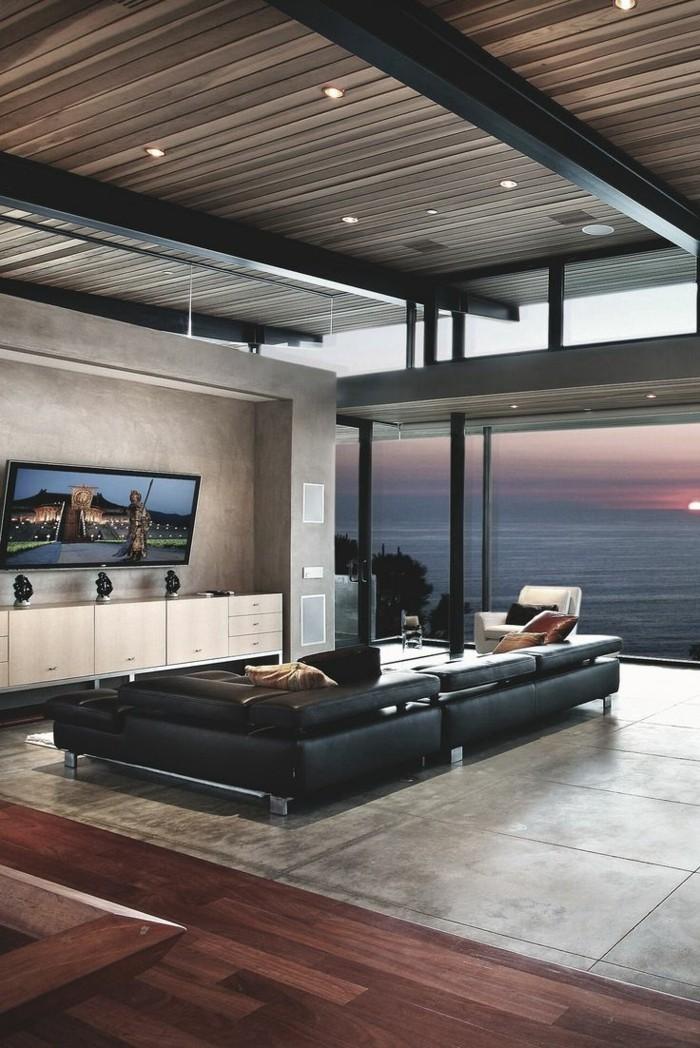 inneneinrichtung ideen modernes wohnzimmer panoramafenster