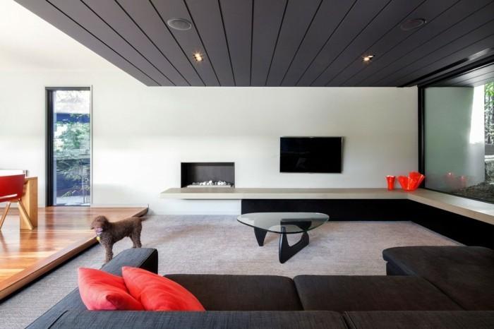 Inneneinrichtung Ideen Modernes Wohnzimmer Rote Akzente