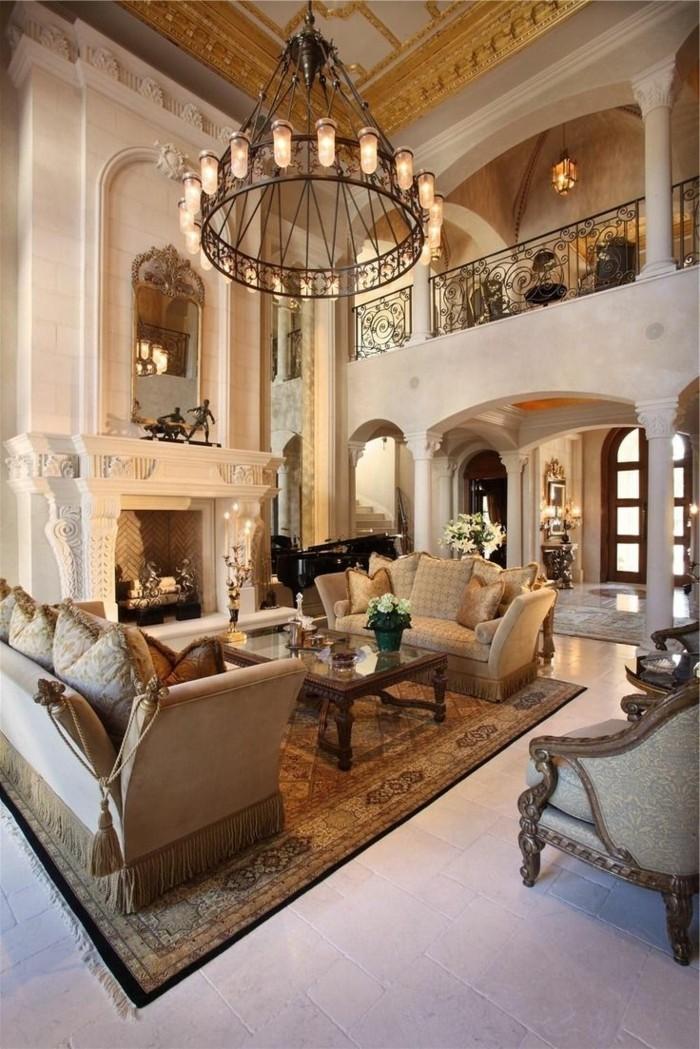 inneneinrichtung ideen wohnzimmer gestalten kamin gemuetlich luxurioes
