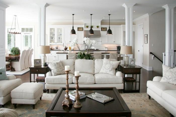 inneneinrichtung ideen wohnzimmer traditionell kerzen weisse sofas