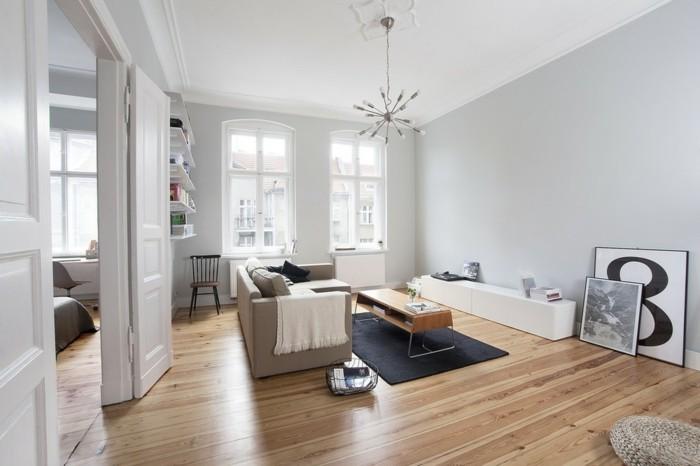 Inneneinrichtung Ideen Zeitgenoessisches Wohnzimmer Schwarzer Teppich Hellgraue Waende