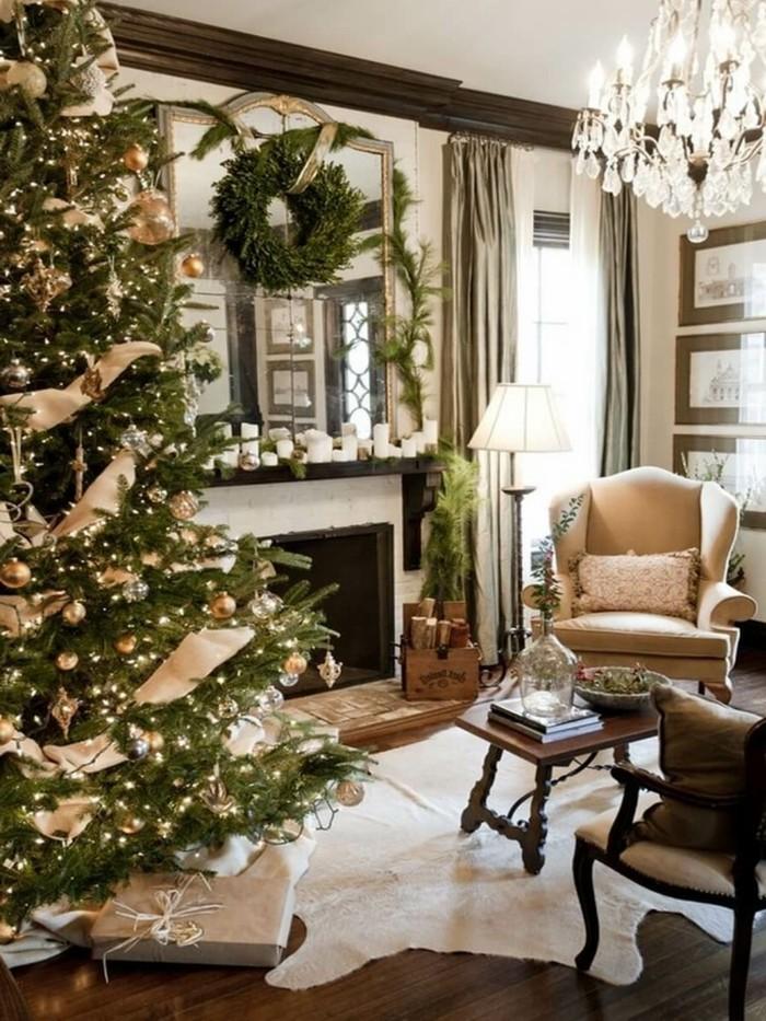 inneneinrichtung wohnzimmer weihnachten kamin fellteppich gemuetlich