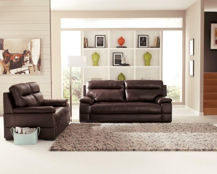 moderne sofas braunes ledersofa teppich weisser bodenbelag