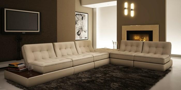 moderne sofas gepolstert ledercouch beige brauner teppich hochflor