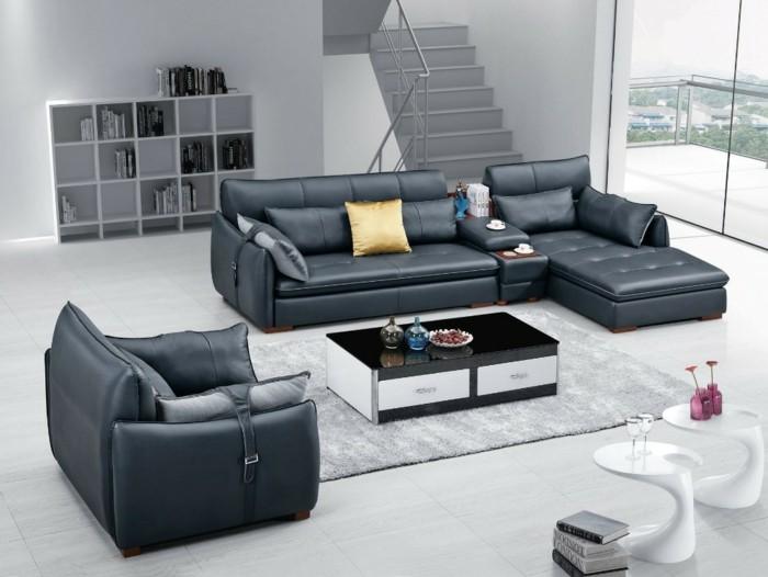 moderne sofas gepolstert ledercouch grau module