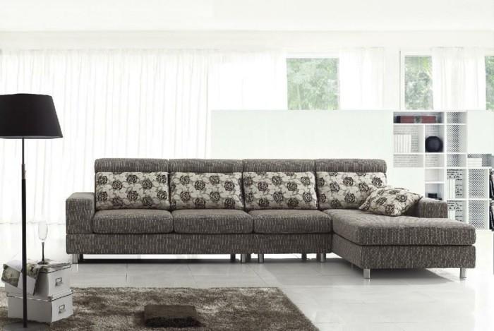 moderne sofas gepolstert stoff grau florale muster