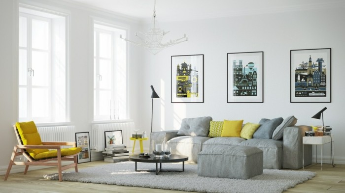 moderne sofas gepolstert stoff grau kissen wohnzimmer