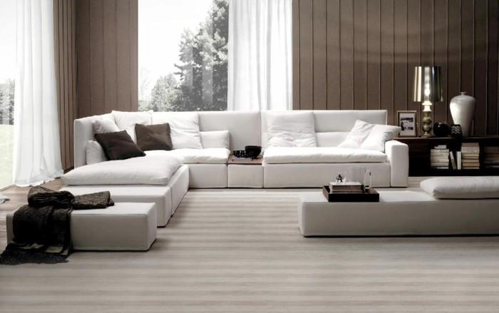 moderne sofas gepolstert weiss stoff wohnzimmer ideen