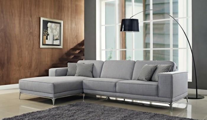 moderne sofas grau stoff agata cado modern moebel bogenlampe
