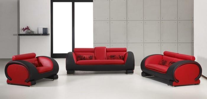 moderne sofas grau stoff gepolster wohnzimmer ideen rot schwarz