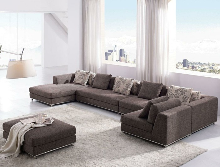 moderne sofas grau stoff wohnzimmer ideen teppich creme