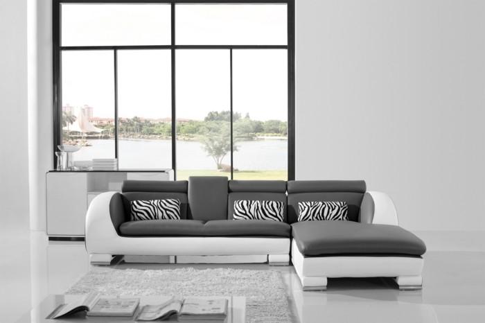 moderne sofas grau weiss zebra print wohnzimmer ideen