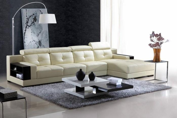 moderne sofas leder module grauer hochflorteppich wohnzimmereinrichtung