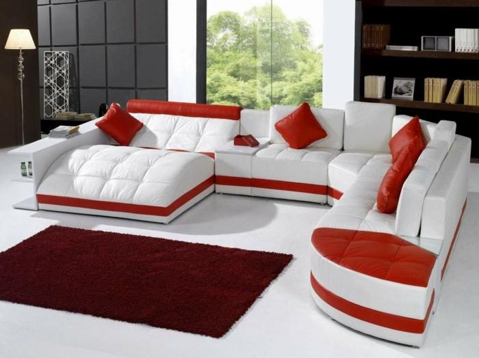 moderne sofas leder module rot weiss leder kissen