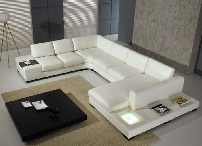 moderne sofas leder weiss gepolster wohnzimmer zimmereinrichtung