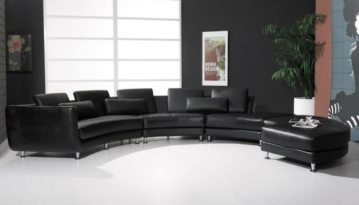 moderne sofas ledercouch schwarz module wohnzimmer ideen