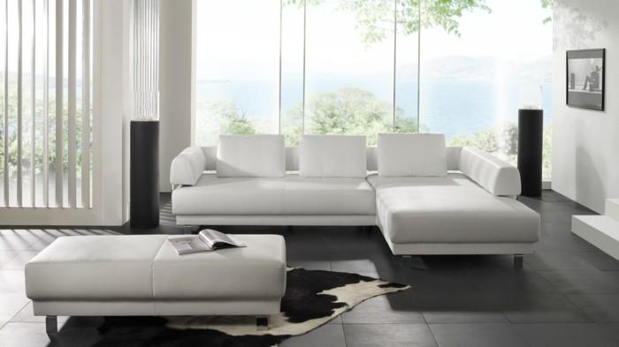 moderne sofas modulcouch weiss leder fellteppich