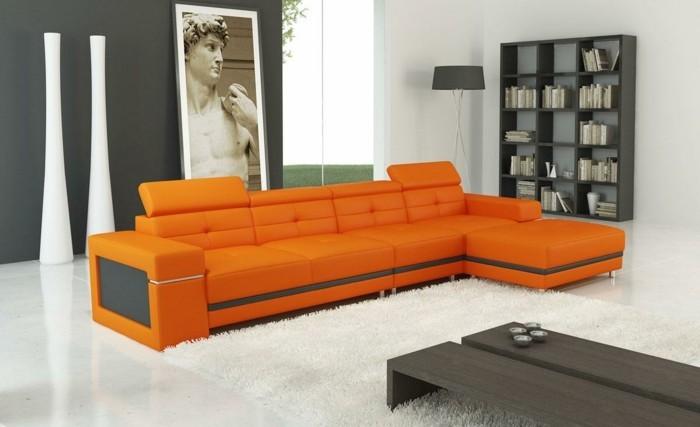 moderne sofas orange leder weisser hochflorteppich