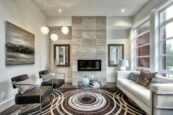 moderne sofas schickes wohnzimmersofa schoener teppich runder glastisch