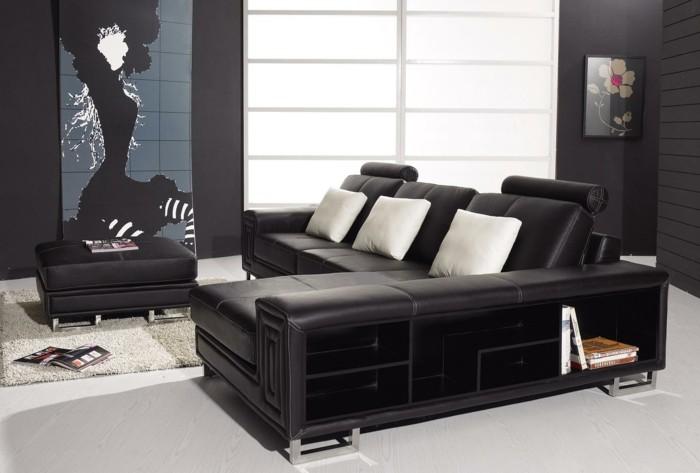 moderne sofas schwarz ledersofa schoene wanddeko